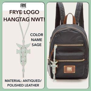🔥Frye Leather Sage Color Logo Bag Charm Key Fob  FIRM PRICE!☝🏻😍🎁💃🏻💃🏻💃🏻